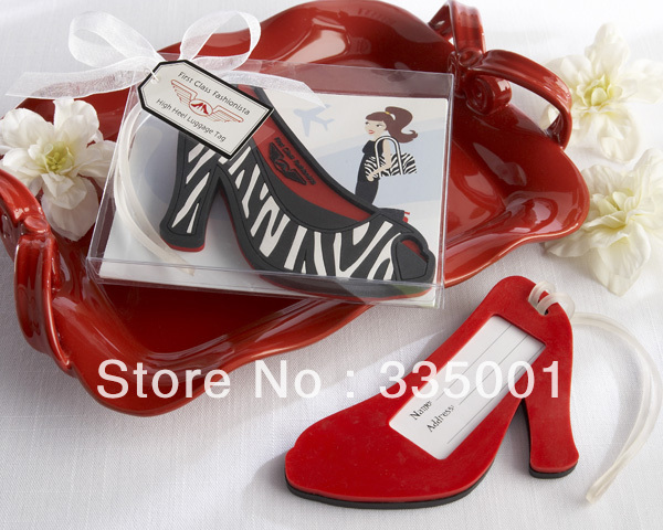 Factory directly sale 30pcs/LOT Wedding favor First Class Fashionista High Heel Luggage Tag
