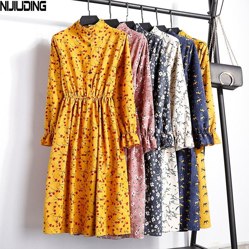 Cord Hohe Elastische Taille Vintage Kleid A-linie Stil 2018 Winter Frauen Volle Hülse Floral Print Kleider Feminino 23 Farben