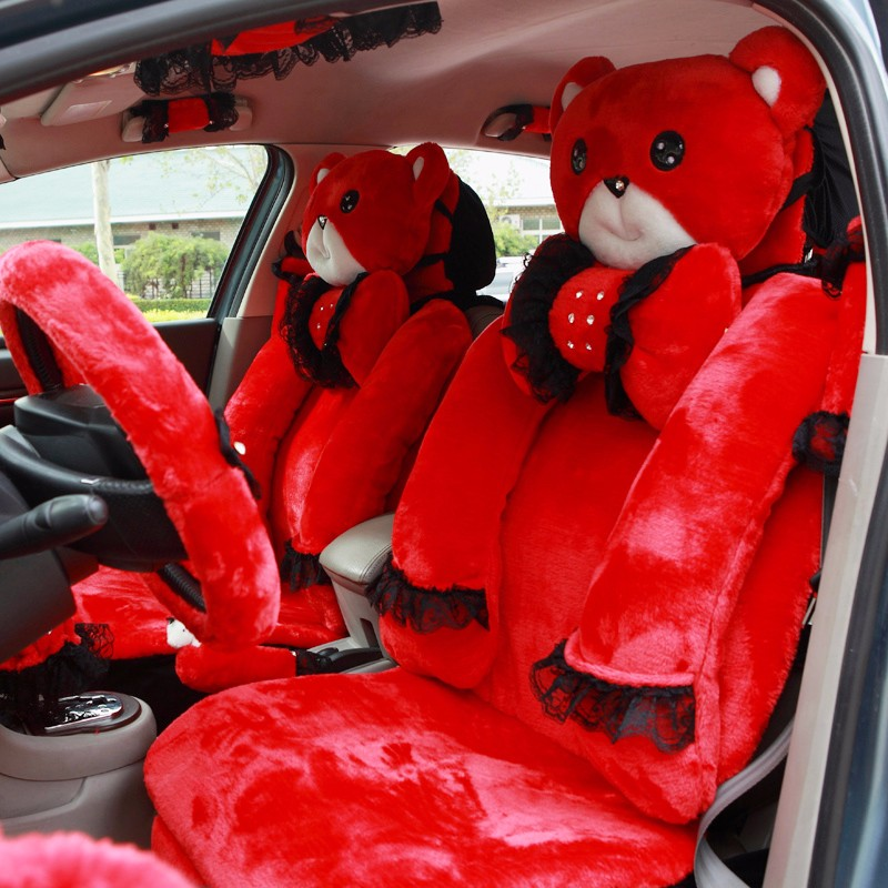 Mei-Mei-Bear-Car-Seat-Cover-Interior-Accessories-Set-Universal-Steering-Wheel-Covers-Milk-Velvet-29