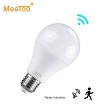 E27 Lampe LED Gece Lambası Hareket Sensörü Ile Lamba Luminaria Radar Sensörü Indüksiyon Ampul Merdiven Koridor Tuvalet Hareket sensörlü ışık