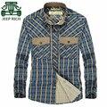 Rico AFS JEEP Vermelho/Verde/Azul dos homens Luva Cheia 100% Algodão do Homem Camisas Xadrez, 2016 primavera Lazer Cardigan Motocicleta Camisas