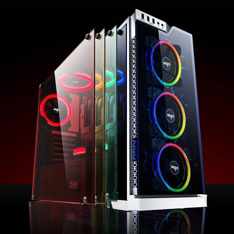 Dark flash Aigo DR12 وحدة معالجة خارجية للحاسوب الكمبيوتر مروحة التبريد ضوء بار RGB ضبط LED 120 مللي متر هادئة البعيد برودة مروحة led أضواء شرائط مصباح