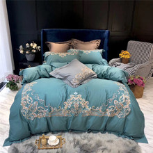Luxury Gold Royal Embroidery 100S Egyptian Cotton Palace Bedding Set Gray Green Duvet Cover Bed sheet Linen Pillowcases 4pcs