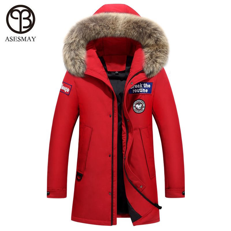 Asesmay Luxury Brand Men Winter Jacket White Duck Down Coat High Quality Hoodies Real Fur Thick Warm Parka Long Winter Man Coats