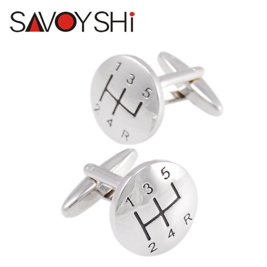 Car Gear Stick Cufflinks for Mens Shirts Cuff Accessories Novelty Round Cufflinks High Quality Fashion SAVOYSHI Brand Jewelry