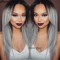 Sexy Grey Ombre Wig False Hair Synthetic Wigs for Black Women Long Straight Brown Wig Hair Kylie Jenner Gray Wig 27""