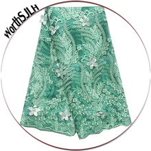 Water Soluble French 3d Lace Fabric High Quality Green Lilac African Material Beaded Nigeria Net 2019
