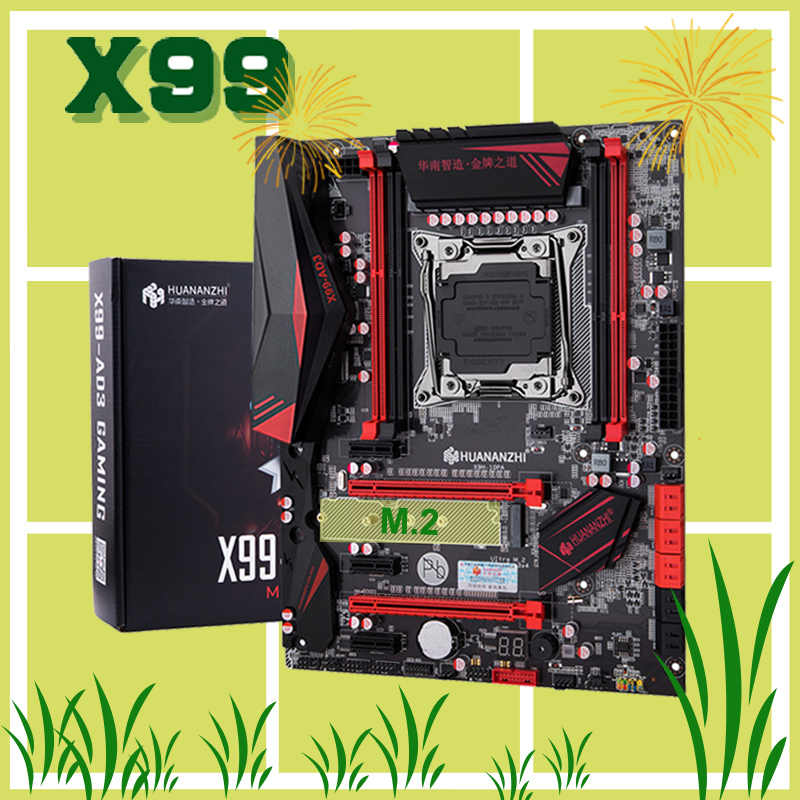 Brand new HUANANZHI X99 motherboard with M.2 NVMe SSD slot discount X99 LGA2011-3 motherboard 4*DDR3 4*USB3.0 10*SATA3.0 ports