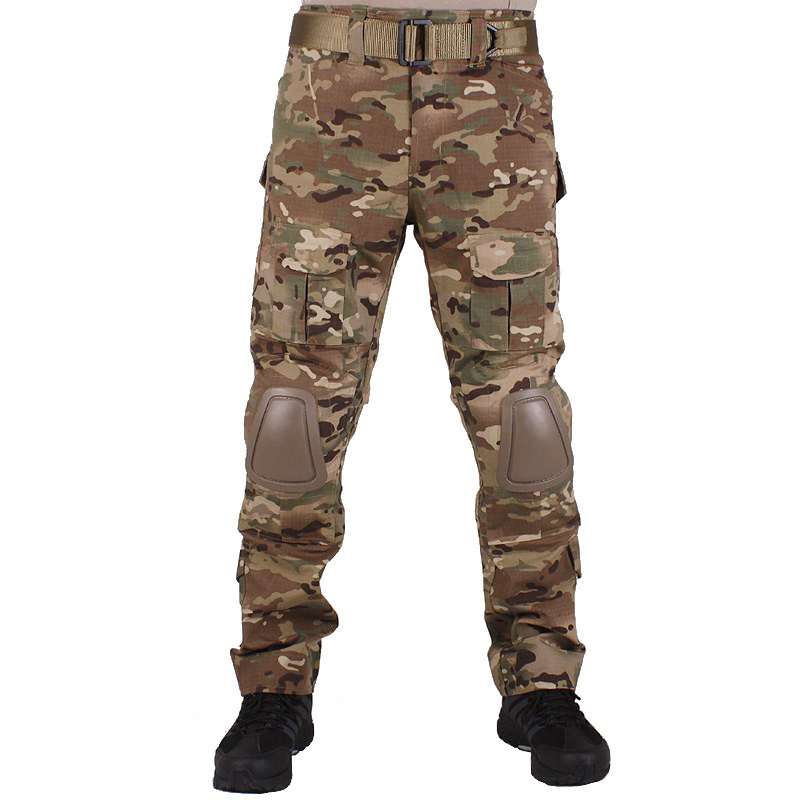 Camouflage military Combat pants men trousers tactical army pants with Removable knee pads Muticam camouflage tactical military clothing paintball army cargo pants combat trousers multicam militar tactical shirt with knee pads