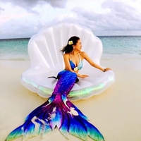 Large Inflatable Shiny Calm Shell Pool Floats Swimming Water  Mattress Bed Air Raft