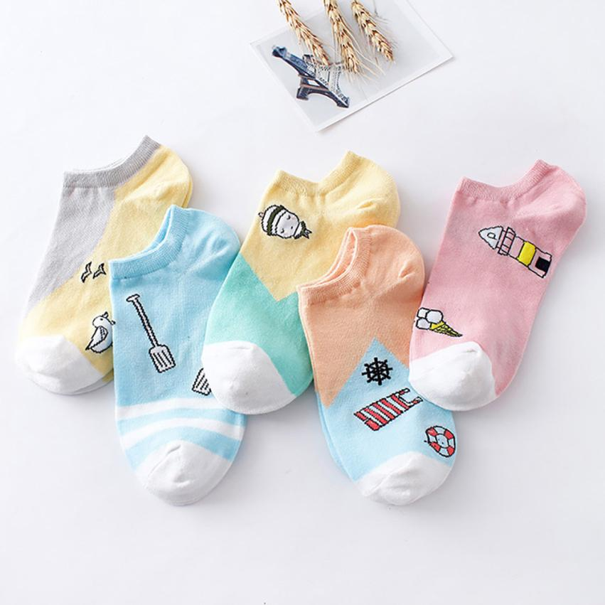 Women Female Socks Comfortable Pinky Color Cotton Sock Slippers Short Ankle Socks For Women #20 ...