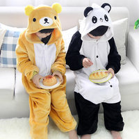 Girls Cute Easily Bear Panda Pajamas Warm Autumn Winter Homewear Children S Pajamas Cartoon Animal Onesies