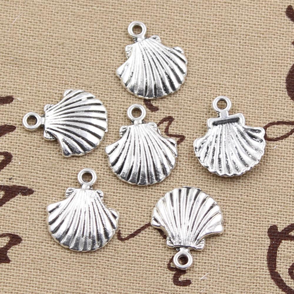 99Cents 12pcs Charms shell 18*15mm Antique Making pendant fit,Vintage Tibetan Silver,DIY bracelet necklace