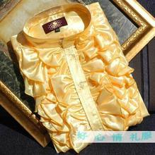 Spring Autumn Men's Korean Fashion Flounce Shirt  Teenager Stage Chorus Dress Clothing YELLOW WHITE !  39-44 Free shipping