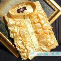 Spring Autumn Men's Korean Fashion Flounce Shirt Teenager Stage Chorus Dress Clothing YELLOW WHITE ! 39 44 Free shipping