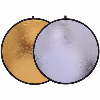 """CY Free shipping 20""""/50cm Handhold Multi Collapsible Portable Disc Light Reflector for Photography studio 2in1 Gold and Silver 1"""