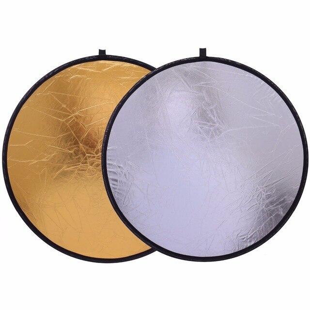 """قبرصي شحن مجاني 20 """"/50 سنتيمتر العروة متعددة لطي المحمولة القرص الضوء العاكس للتصوير ستوديو 2in1 الذهب و الفضة"""