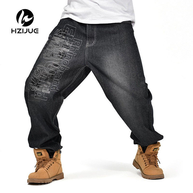 2017 Men's Black Baggy Jeans Hip Hop Designer Brand Skateboard Pants loose Style Plus True HiP Hop Rap Jeans Boys Trousers 30-46 euramerican style baggy hip hop men jeans widened increase skateboard pants comfortable mid waist casual mens streetwear jeans