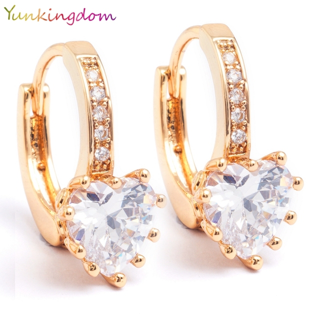 Yunkingdom Brand Love Fashion Charm White Cubic Zirconia Hoop Earrings Geometric Heart Shiny Rhinestone Earring Jewelry Womens