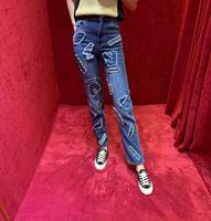 AH0728 модные женские джинсы 2019 подиумная Роскошная известная марка европейский дизайн вечерние Стиль Женская одежда