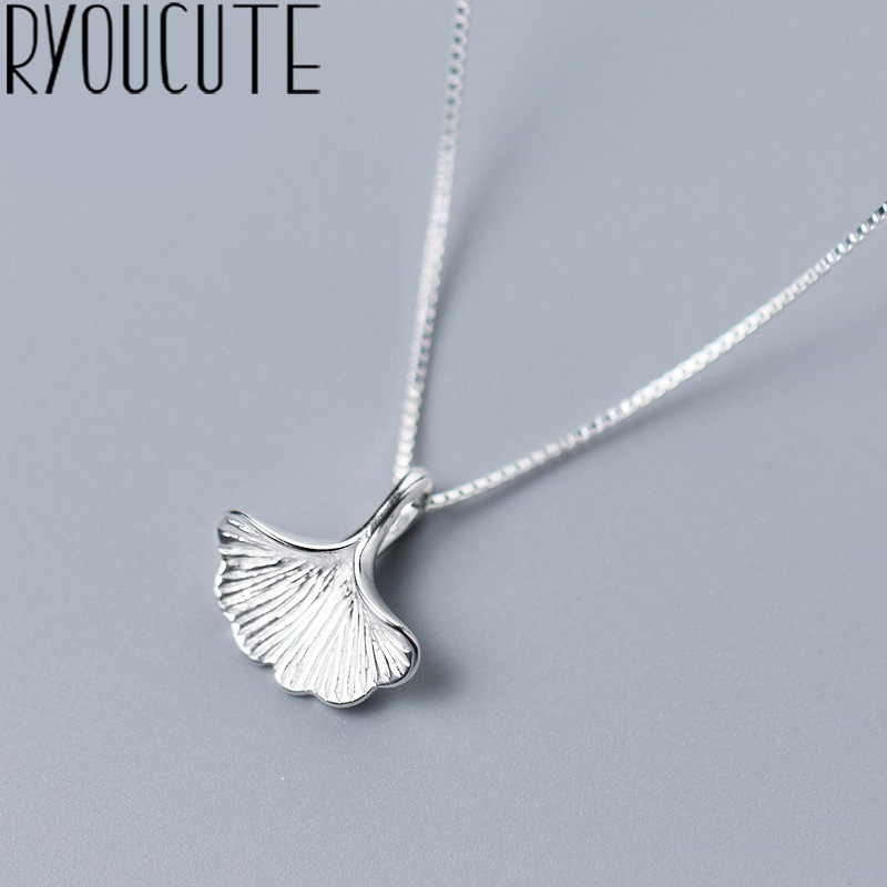 RYOUCUTE 100% Real Pure 925 Sterling Silver Jewelry Long Chain Ginkgo Biloba Leaf Choker Necklaces For Women Gifts Kolye Collar