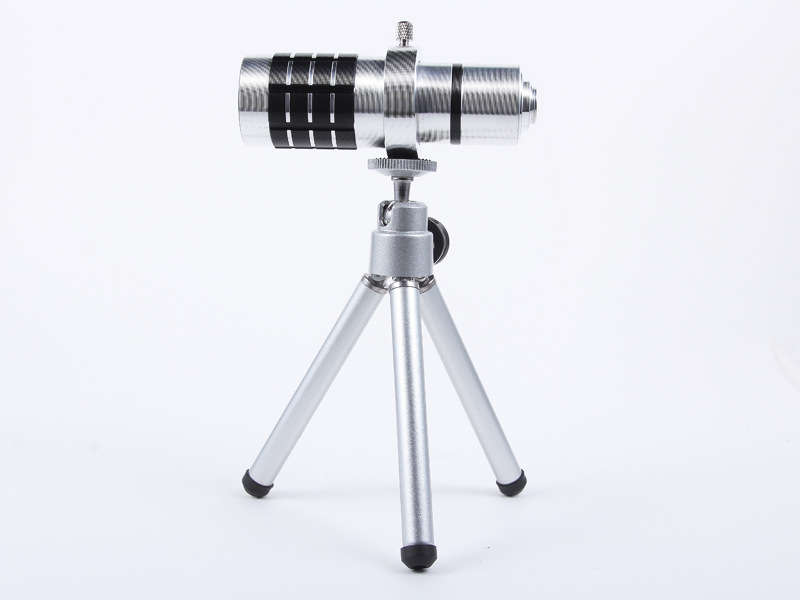 Universal 12X Zoom Phone Camera Lens Telephoto Telescope With Mount Clip Holder Mini Tripod Stand Lens For iPhone Smartphone 8
