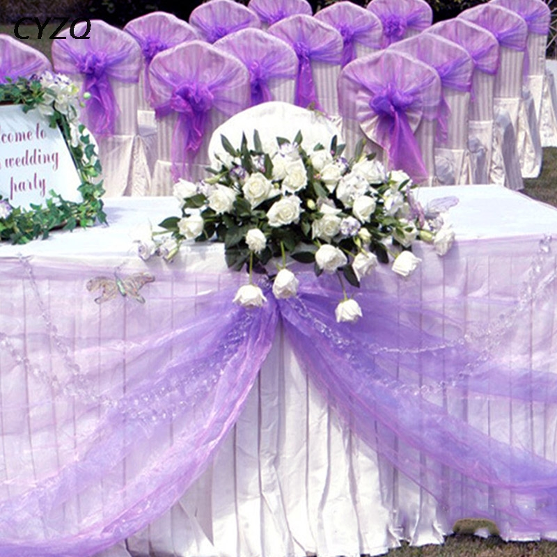 26M X 29CM Crystal Organza Roll Sheer Fabric Wedding Chair Bow Sash Table Runner