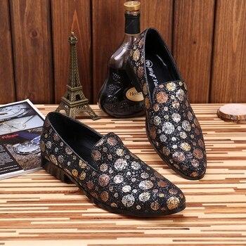 2017 men loafers Italy fashion design men shoes spring dress loafers polka dot men flats casual shoes men flats wedding shoes 46