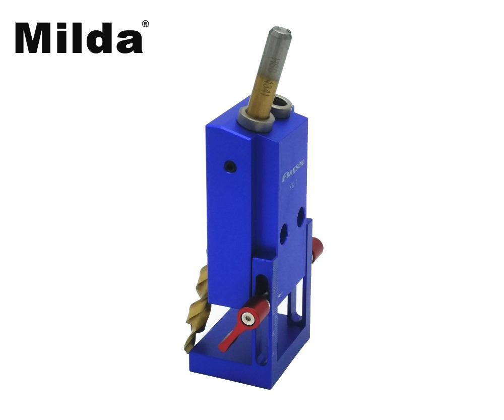 Milda Pocket Hole Jig Kit System For Wood Working & Joinery + Step Drill Bit & Accessories Mini Kreg Style Wood Work Tool Set