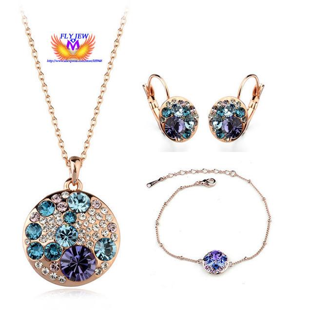 Calidad superior de oro Rosa Cristal plateado mickey Joyería de lujo Set 1 unids collar + 1 unids pendiente + 1 unids pulseras mede con AAA Circón