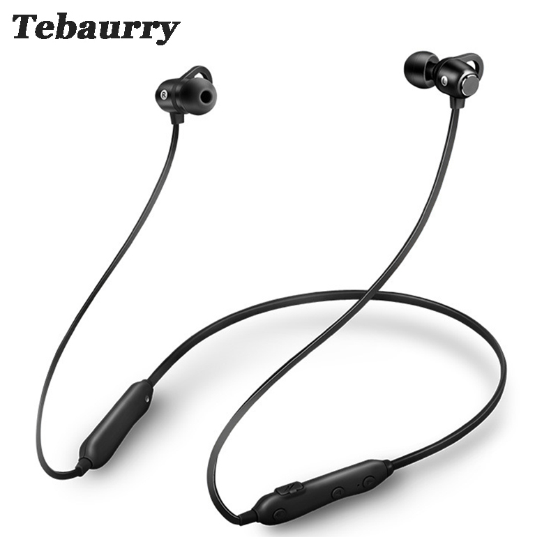 Tebaurry Magnetic Bluetooth Earphone Wireless Headset Stereo Bass Neckband Sport Bluetooth Headphone with Mic for phone wireless headphones bluetooth headset sport running magnetic stereo neckband earphone with mic csr 4 1 for phone iphone samsung