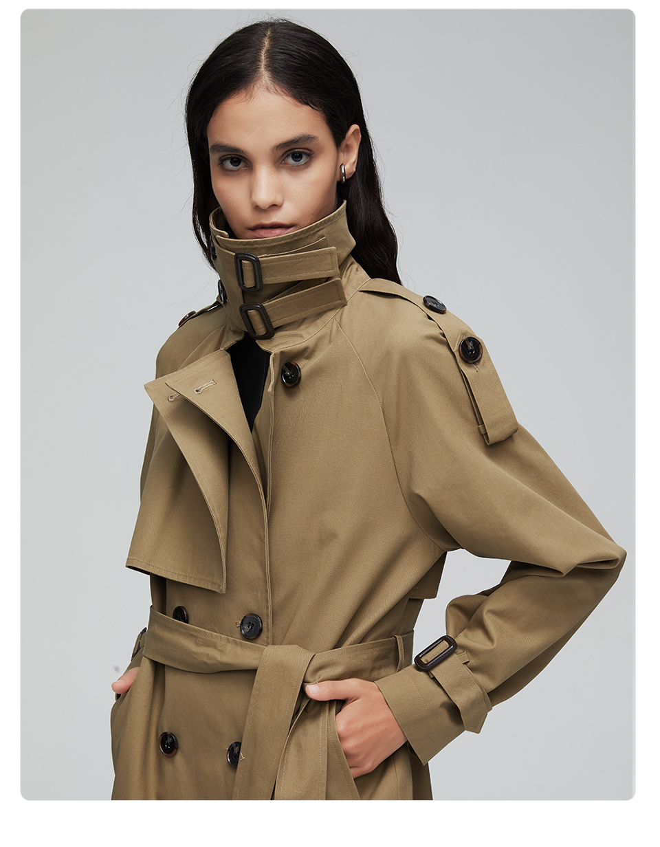 JAZZEVAR 19 New arrival autumn top trench coat women double breasted long outerwear for lady high quality overcoat women 9003 18