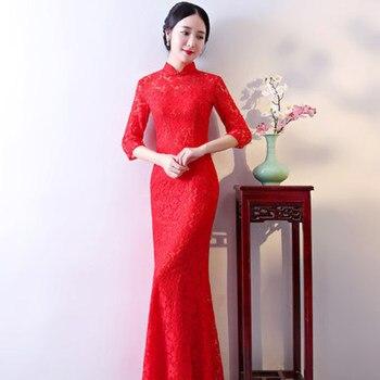 Estilo 2018 Encaje Oriental Chino China Qipao Vestidos Ropa Chines Tradicional Tienda Sexy Cheongsam Vestido Largo ZkiTOuXP