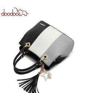 Image 5 - DOODOO المرأة بولي Leather حقيبة يد جلدية حمل حقيبة الإناث الكتف حقائب كروسبودي السيدات الأعلى مقبض حقيبة شرابة الإملائي اللون حقيبة ساع
