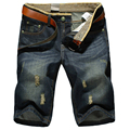 Новые летом 2016 мужчин свободного покроя джинсы бермуды Masculina шорты тонкий прямой разорвал синий джинсовые шорты Большой размер MZ207