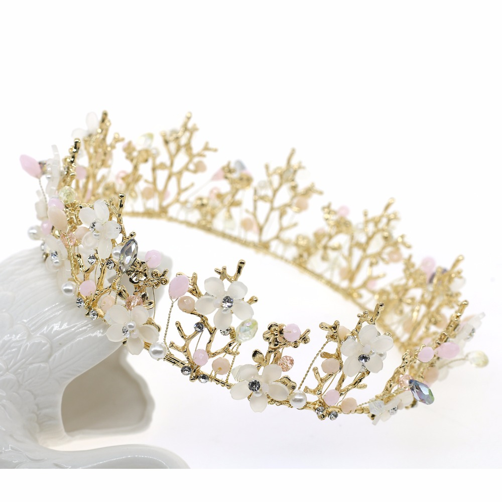 Asnora head crowns flower party wedding hair accessories for women bridal crown bride tiara rhinestone queen tiaras and crown цена