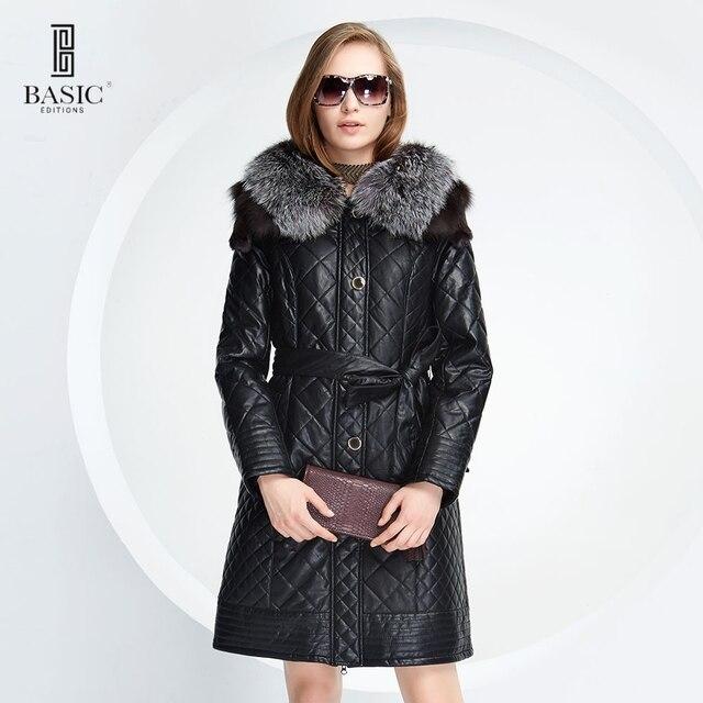 BASIC EDITIONS 2014-2015 осень зима стеганное пальто с капюшоном мех чернобурки с поясом ( Большие размеры )