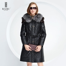 BASIC-EDITIONS New Winter Women Faux Leather Clothing Fox Fur Collar Slim Female Jacket Quilting grid Cotton Coat – D13058