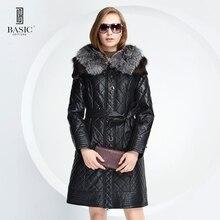 De base-éditions nouveau hiver femmes faux cuir clothing renard col de fourrure mince femelle veste courtepointe grille coton coat-d13058