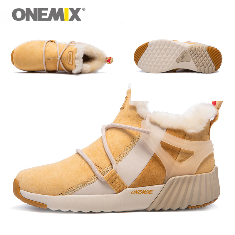 ONEMIX New Winter Men's Boots Warm Wool Sneakers Outdoor Unisex Athletic Sport Shoes Comfortable Running Shoes Sales 13