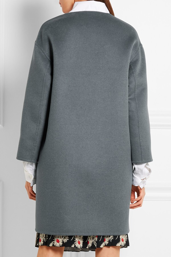 Gray 2017 Mode Laine Automne féminines Manteau O Wome Outwear Cachemire Couleur Hiver Europe Taille Large Double Solide cou Gary frqw5Ufx