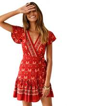Red Multi Print Mini Dress Summer Boho V-Neck Wrap Dresses Ruffle Hem Hippie Chic Beach Dress Women Dresses Vestidos 2019