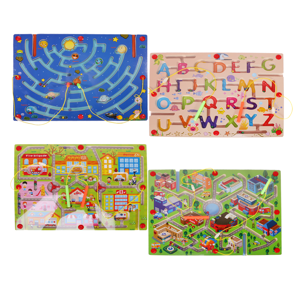 Wooden Puzzles Magnet Beads Slot Maze Magnetic Pen Labyrinth Happy Community Educational Labyrinth Board Game for Kid Children