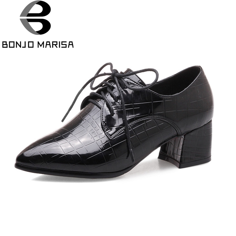 BONJOMARISSA Women's British Style Pointed Toe Chunky Heel Lace Up Student Shoes Woman Casual Dress Pumps Big Size 33-43