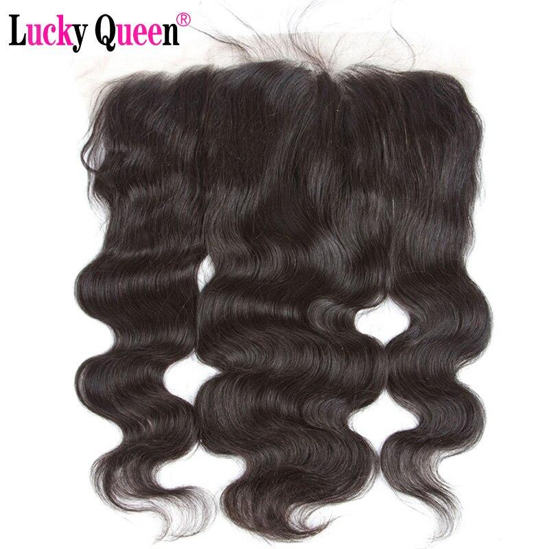 Бразильский объемной волны 13*6 уха до уха кружева фронтальной с ребенком волос бесплатная часть 100% натуральные волосы Волосы remy Lucky queen hair то...