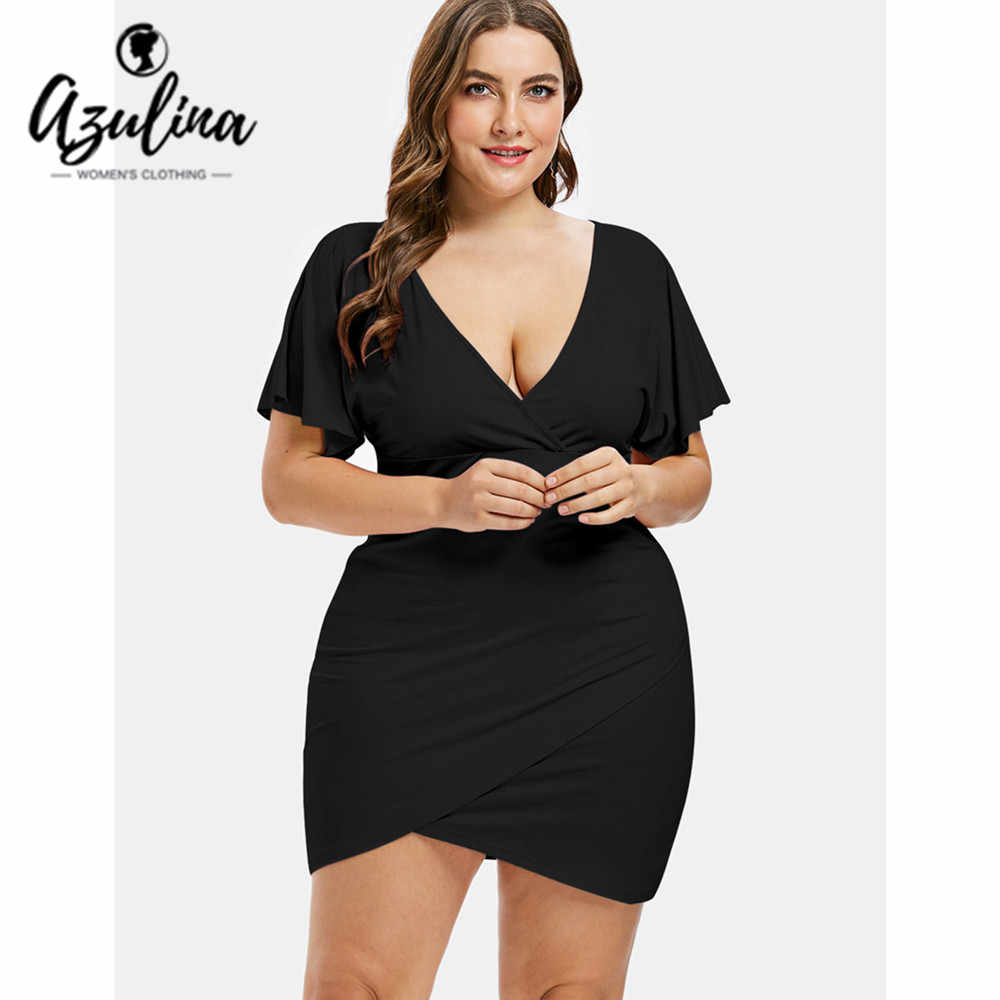 2c7fc754eaa1 AZULINA Plus Size Flare Sleeve Plunging Neck Mini Fitted Surplice Bodycon  Dress Women Sexy Club Party