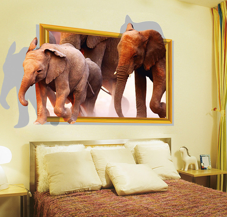 New Elephant Large 3D Wall Stickers Home Decor Living Room