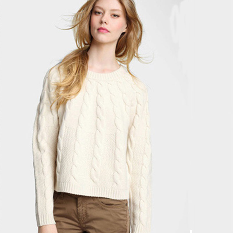 100% Genuine Goat Cashmere Woman Sweater Pullovers Long Sleeve Ribbed Knitted Winter White Korean Novelty Christmas Jumpers