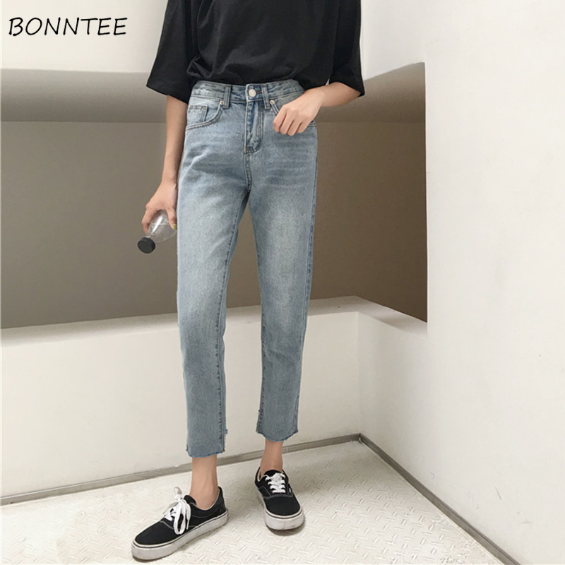 Jeans Women Spring Summer Trendy Elegant Simple Korean Style All-match High Quality Ulzzang Slim Womens Trousers Chic Casual