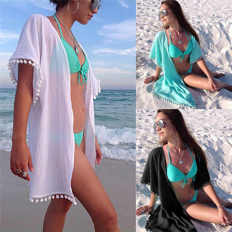 Delle donne di Estate del Vestito Dalla Spiaggia Cardigan Nappa Palla di Colore Solido Sexy del Bikini Cover Up Costumi Da Bagno Sciarpa Pareo Pareo Caftano Abiti Da Spiaggia
